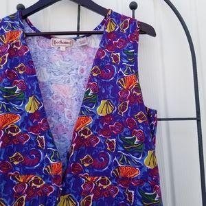 Bechamel vintage maxi button up sleeveless dress L